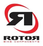 rotor bike components logo, backwards capital letter R