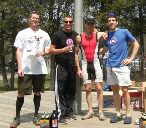 Men's overall podium.  Race director Bob Horn with Anthony Snoble, Daryl Weaver, and myself.