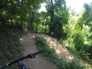 One of many challenging switchbacks along the course