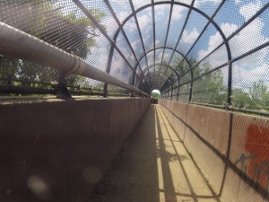 At the bike course trail head, take a right on the pedestrian bridge