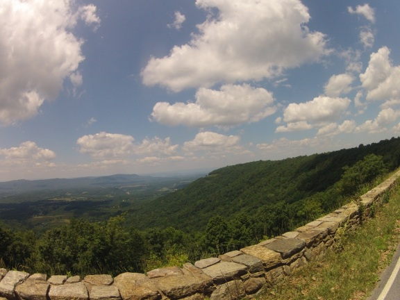 Skyline drive runs along ridges of the Blue Ridge Mountains