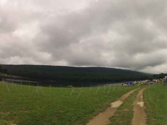 Storm clouds over transition the day before the race