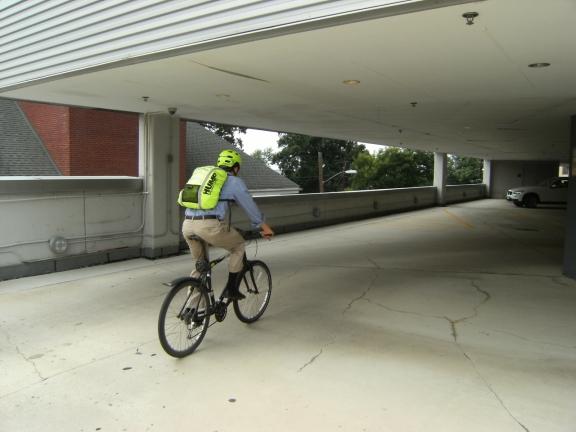 Alex riding his bike