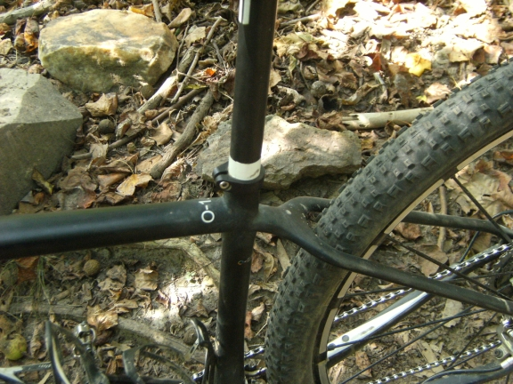 View of the junction of the seatpost, seattube, and seatstays