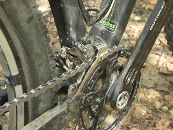 View of the crankset and direct mounted front derailleur, Freshbikes decal is visible on the bottom of the downtube