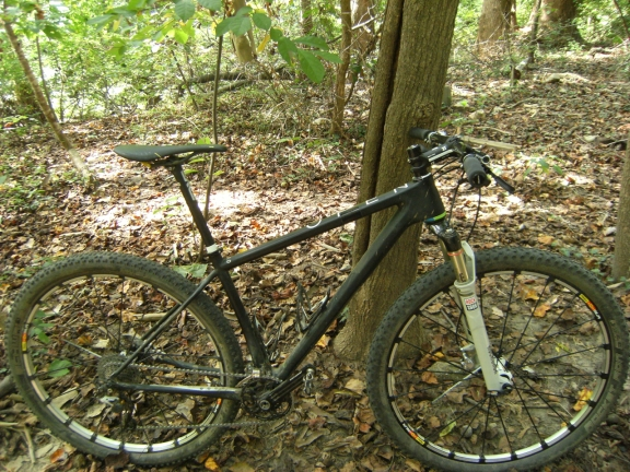 OPEN 0-1.0 matte black MTB with rotor cranks, Mavic crossmax SLR 29er wheels, and a Rock Shox SID WC fork, resting on a tree in forested XC trails