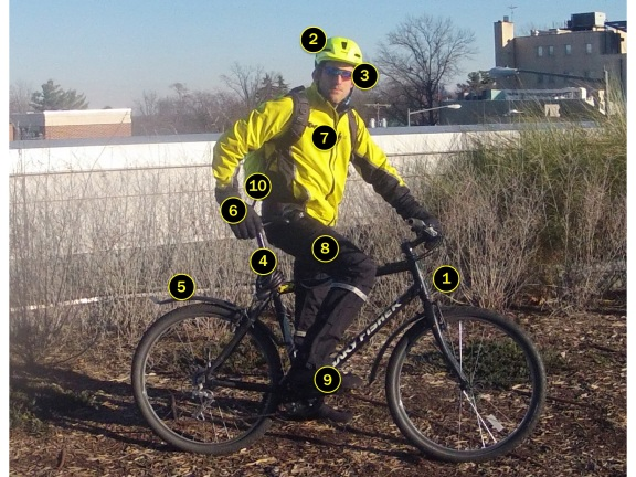 Photo of the author on his commuting bike. The ten numbered essential items