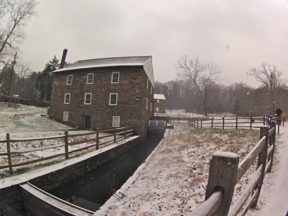 A view of the southeast wall of Pierce Mill, and the canal dug to turn the waterwheel