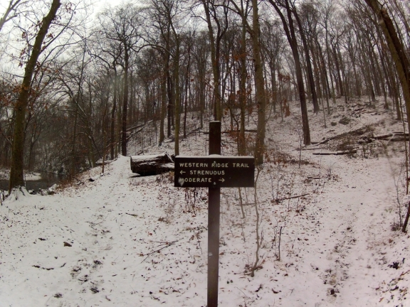 Sign indicating a splitting of the trail into a moderate and strenuous route
