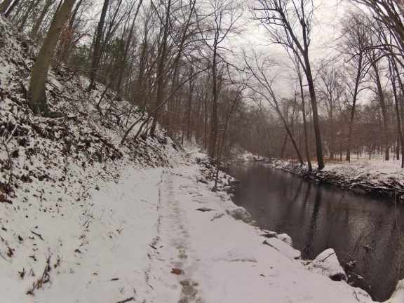 A flat portion of single track running on the bank of Rock Creek