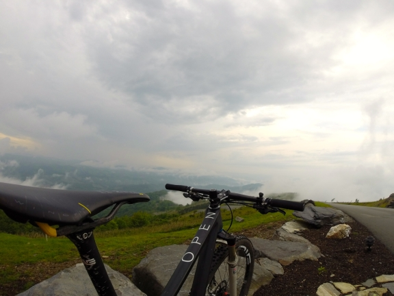 Shot my OPEN 0-1.0 29er mtb at the top of Elk Mountain. Clouds can be seen in the ridges below as well as overhead