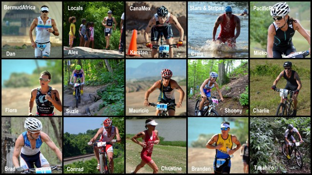 15 professional xterra racers, arranged into five teams