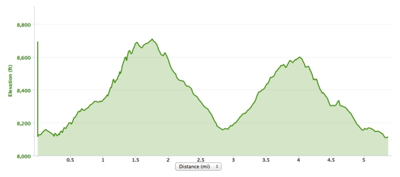 Elevation profile, with two steep climbs and descents between 8,000 and 9,000 ft over 5.5 miles