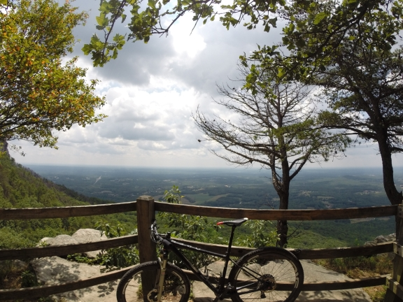 At the top of Pilot Knob Park Road, the lower lying slopes extend for dozens of miles into the horizon