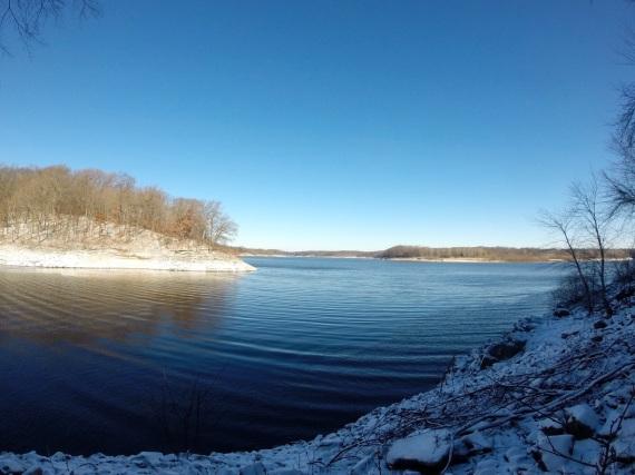 Calm lake water.