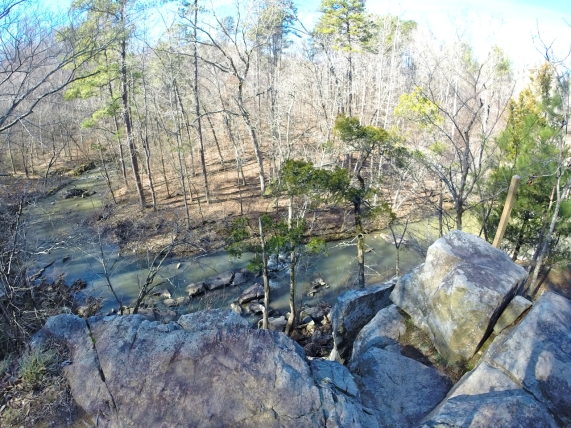 View over the edge; New Hope Creek below.