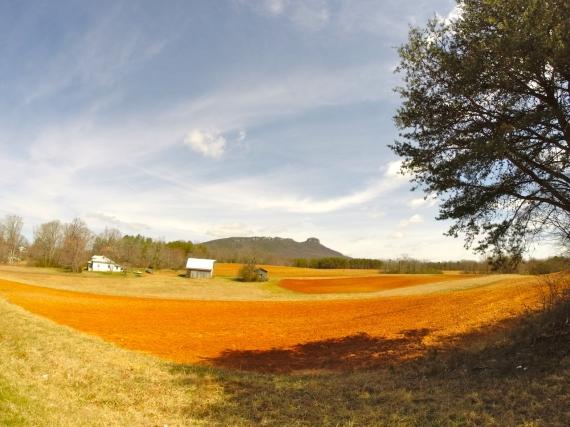 Farm fields, barn, farm house, with Pilot Knob on the horizon.