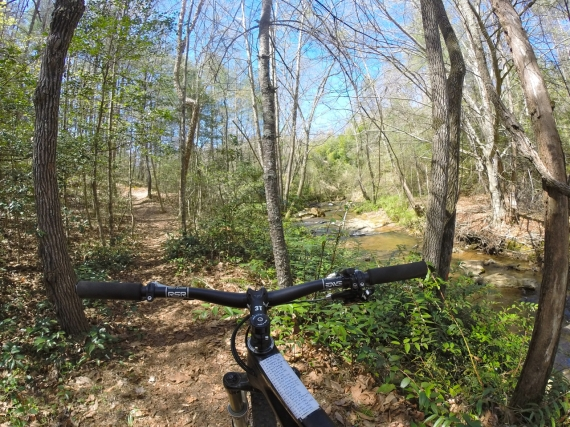 View of mountain bike trail from behind ENVE carbon handle bar.