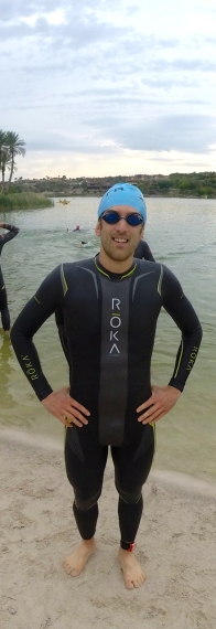 Ready to roll in my Roka Viper Pro wetsuit. My first time racing in it.