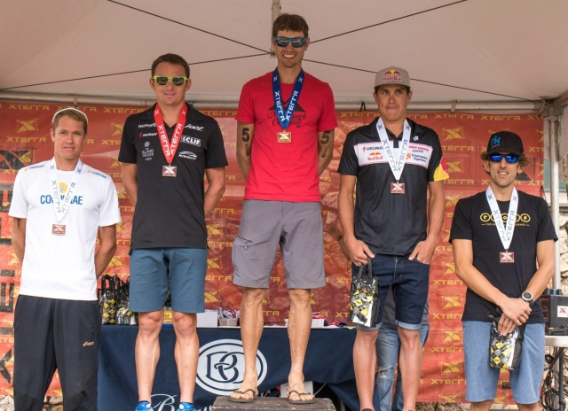 Back on the podium with four stars of the sport at the Xterra mountain championship. Photo credit: Xterra