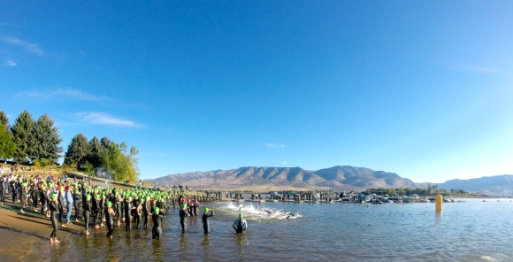 And we're off. A field of 20 pro men set off on the swim course in Pineview reservoir.
