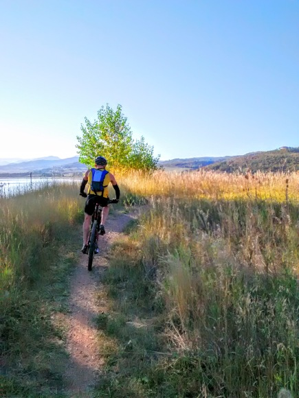 Riders hit some singletrack straight out of transition, and ride along Pineview reservoir to the base of Wheeler Canyon.